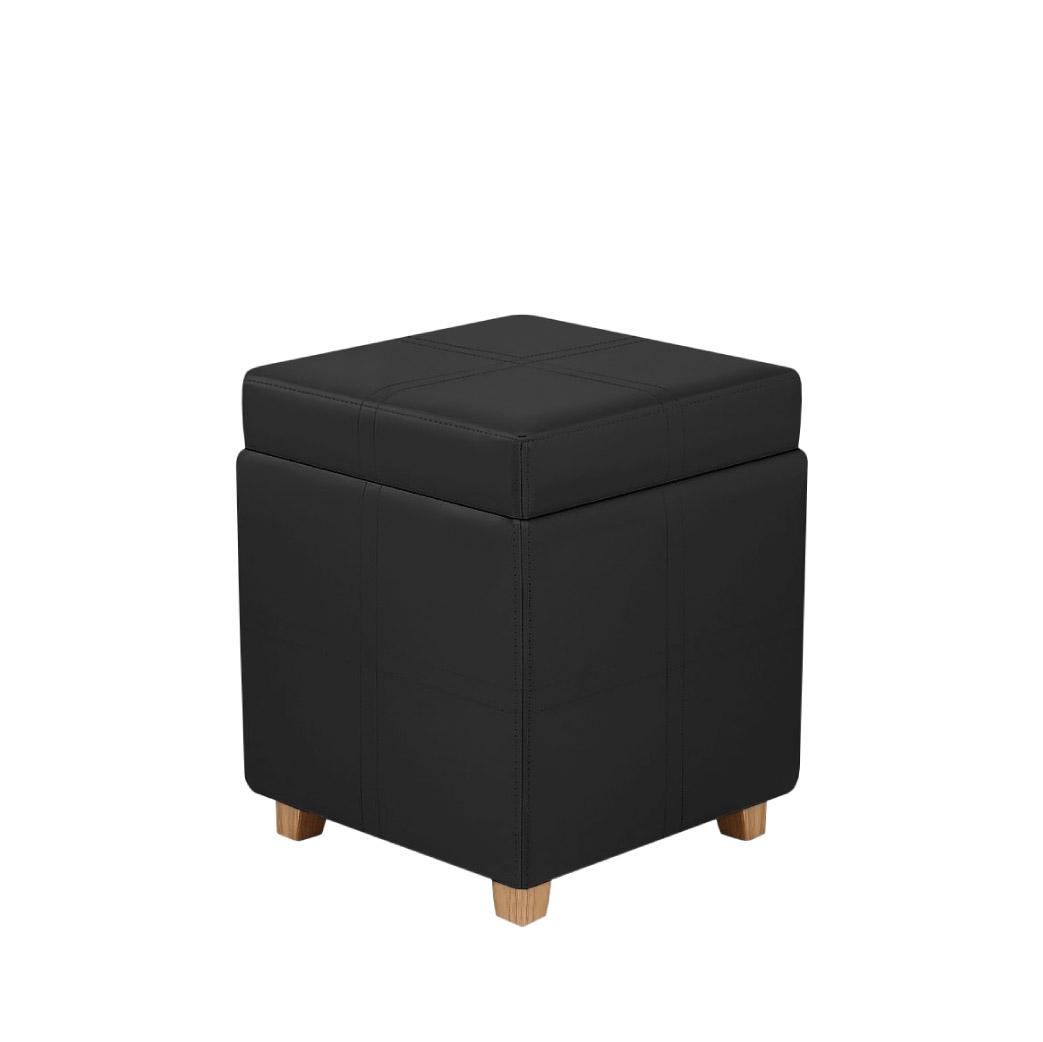 Black leather ottoman stool - Event Orders