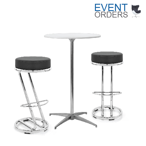 White High Pod Table 2x Zed Stools Event Orders Event Orders